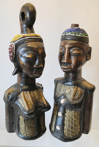 Carved Busts, Beads, Metal Plate Inlay